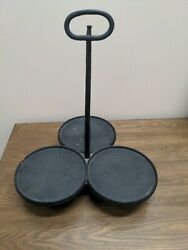 Hanging Cast Iron Triple Griddle Skillet. Clover Footed, 12.5 Lbs. Gatemarked.