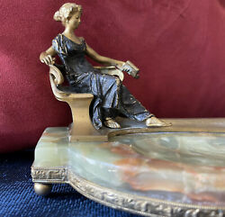 Andor Ruff Signed Bronze Sculpture On Onyx Ashtray Base, C. Early 1900s