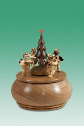 Music Box Engelgruppe With Christmas Tree Nature D=5 7/8in New Game Clock Wood