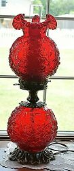 Vintage Deep Ruby Red Fenton Glass Gone With The Wind Lamp Poppy Flower