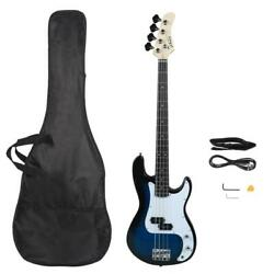 New Musicians Electric P Style Bass Guitar + Cord + Wrench Tool +bag Dark Blue