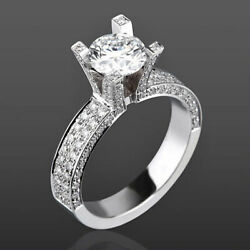 14 Kt White Gold Vvs2 Diamond Solitaire Accented Ring 2.88 Carat Lady 4 Prong