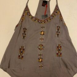 Anthropologie Raga size Small women#x27;s light brown embroidered racerback top $19.99