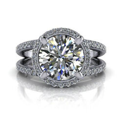 950 Platinum Solitaire Round Cut 1.45 Ct Real Diamond Wedding Ring Size M N O P