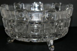 Beautiful Footed 8 Cut Glass Coin Fruit Bowl Candy Dish Stunning Art Deco