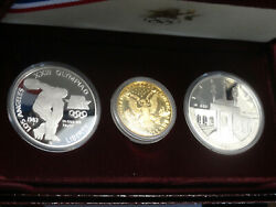 1983 / 1984 Us Mint 3 Coin Olympic Silver/ Gold Commemorative Proof Set W/box