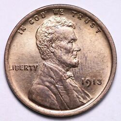 1913 Lincoln Wheat Cent Penny Gem Bu Red Free Shipping E711 Xhy