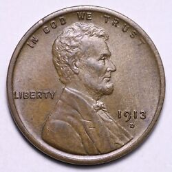 1913-d Lincoln Wheat Cent Penny Choice Bu Free Shipping E712 Ymx