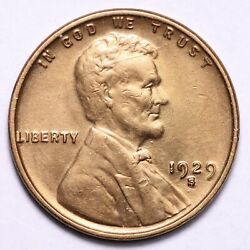 1929-s Lincoln Wheat Cent Penny Choice Unc Free Shipping E735 Jcg