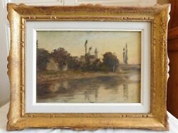 Oil On Panel Chanaz Village With Bridge And Church Frame Wood Gold Dated