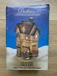 Dickens Victorian Collection Lighted Grocery. Hand Painted Fine Porcelain