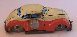 Rare Vintage Small Tin Wind Up Car From Japan Tin Wheels And Rear Steering - Works