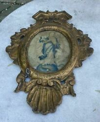 Antique Italian Carved Gilt Frame With Needlework Icon Reliquary