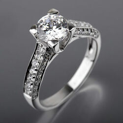 Natural Round Diamond Ring Ladies 1.83 Ct 4 Prongs Side Stones 14 Kt White Gold
