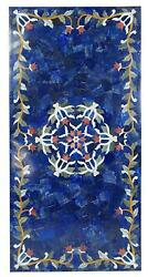5'x3' Marble Table Top Dining Center Coffee Inlay Blue Lapis Antique Pietra Dura