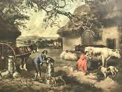 Victorian 19th Century Antique Framed Print The Dairy Farm After George Morland