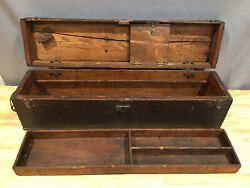 Primitive Antique Carpenterand039s Wood Tool Box Chest With Removalble Tray