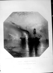 Old Antique Print Art Journal 1860 Peace Burial Wilkie Ship Fire Burning 19th