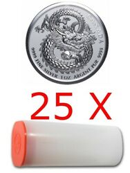 Lucky Dragon - 25 X 2020 1 Oz Pure Silver High Relief Coin In Mint Tube - Canada