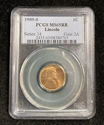 1909-s Pcgs Ms65rb Lincoln Wheat Penny