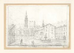 Print Antique Original 15 October 1841 Square Of Breno Valley Camonica Lombardy