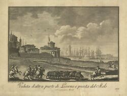Print Antique Original View D' Other Part Di Livorno And Tip Of Pier - Italy
