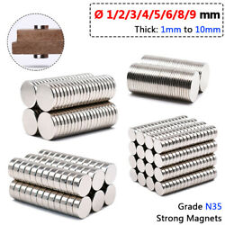 Andoslash 1mm-9mm Strong Neodymium Magnet Disk N35 Craft Hobby Ndfeb Magnet Thick 1-10mm
