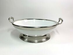 Arte Italica Tuscan Large White And Pewter Handled Footed Pasta Bowl Centerpiece