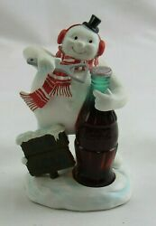 2007 The Coca Cola Company Snowman Opening An Ice Cold Bottle Figure Statue Figu