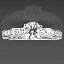 Vvs1 Solitaire + Side Stones Diamond Ring 1.29 Carats Round 18 Kt White Gold