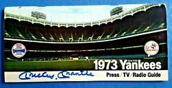 Mickey Mantle Personally Signed 1973 Yankees Press/tv/radio Guide Coa