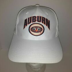 Auburn Tigers Face Eyes Logo Snapback Hat Cap White Spell Out Top Of The World