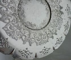 Antique Silver On Copper Plated Tray Platter Cut Out Etched Old Metalware