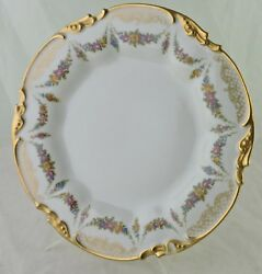 Antique Limoges Plate Flower Bouquet Swag Gold Ornate Scroll Rims