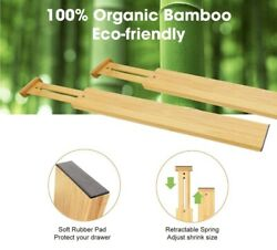 Expandable Bamboo Kitchen Drawer Dividers Organizers Adjustable Set Of 8 16-22