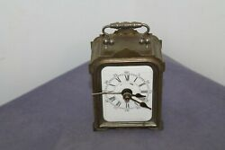 Antique Vintage Carriage Alarm Clock With Silver Plated .