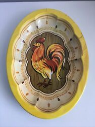 Vtg DAHER DECORATED WARE Oval Yellow Tin Tray Rooster Chicken Pattern England