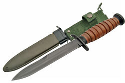 Wwii World War Ii Replica M3 Trench Knife Fixed Blade Leather Wrapped Handle