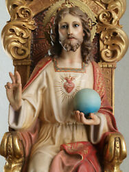 Sacred Heart Of Jesus Christ Statue Sitting Chair Statue 21.2 Spain Antique