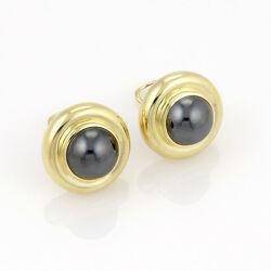 And Co. Paloma Picasso 18k Yellow Gold Circular Hematite Designer Earrings