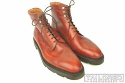 John Lobb Solid Brown Leather Mens Shoes Combat Boots - Uk 10 / Us 11 E