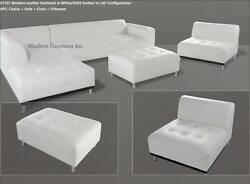 4 Pc Modern Contemporary White Genuine Leather Sectional Sofa 1707
