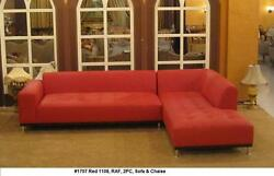 Modern Design Red Leather Sectional Sofa + Chaise + Ottoman 3 Pieces Set 1707