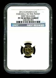 2012 Canada 1/25 Oz Gold 1 Cent Coin Farewell To The Penny Ngc Graded Pf70 Ucam