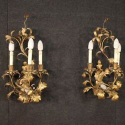 Pair Wall Lights Gilded Metal Wall Antique Style 4 Lights Flowers 60s Vintage