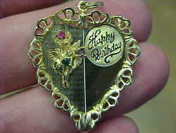 Vintage Antique 14k Yellow Gold Heart Happy Birthday And 3 Stone Charm 6.2 Gr 60's