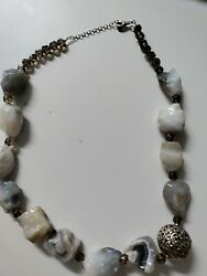 Vintage Huge Barse Jewelry Smokey Quartz And Sterling Silver Necklace Lg Stones