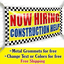 Now Hiring Construction Help Advertising Vinyl Banner Sign Many Sizes Usa Made