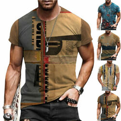 T Shirt Mens Vintage Printed Short Sleeve Blouse Summer Casual Fitness Tops Tee $15.72