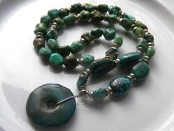Antique Natural Green Turquoise Bead 20 Vintage Necklace Large 1.25 Pendant